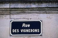Europe/France/Aquitaine/33/Gironde/Saint-Estèphe: Détail d'une plaque de rue rue des vignerons