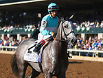 """October 06, 2018 : #2 A Raving Beauty (GER) and jockey John Velazquez (inside blue cap) win the 21st running of The First Lady (Grade 1) $400,000 """"Win and You're In Breeders' Cup Filly & Mare Turf"""" for trainer Chad Brown and owners Michael Dubb, Madaket Stables, and Bethlehem Stables at Keeneland Race Course on October 06, 2018 in Lexington, KY.  Candice Chavez/ESW/CSM"""