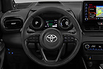 Car pictures of steering wheel view of a 2020 Toyota Yaris Premier 5 Door Hatchback Steering Wheel