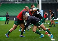 4th October 2020; Twickenham Stoop, London, England; Gallagher Premiership Rugby, London Irish versus Bristol Bears; London Irish practising tackles on the bags before kick of