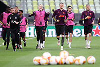 25th May 2021; Gdansk, Poland; Manchester United training at the Stadion Energa Gdańsk prior to their Europa League final versus Villarreal on May 26th;   DONNY VAN DE BEEK, NEMANJA MATIC, ALEX TELLES