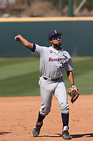 J.J. Cruz (35) of the Cal State Fullerton Titans during a game against the UCLA Bruins at Jackie Robinson Stadium on March 6, 2021 in Los Angeles, California. UCLA defeated Cal State Fullerton, 6-1. (Larry Goren/Four Seam Images)