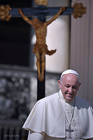 Pope Francis during of a weekly general audience at St Peter's square in Vatican.October 4, 2017