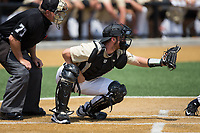 Wake Forest Demon Deacons catcher Ben Breazeale (39) sets a target during the game against the Pittsburgh Panthers at David F. Couch Ballpark on May 20, 2017 in Winston-Salem, North Carolina. The Demon Deacons defeated the Panthers 14-4.  (Brian Westerholt/Four Seam Images)