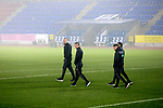 St Johnstone v Kilmarnock…06.11.20   McDiarmid Park SPFL<br />Referee Gavin Duncan and thre match officials check the conditions pre-match<br />Picture by Graeme Hart.<br />Copyright Perthshire Picture Agency<br />Tel: 01738 623350  Mobile: 07990 594431