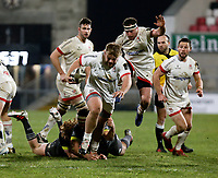 2nd January 2021   Ulster vs Munster <br /> <br /> Callum Reid  is tackled by Rhys Marshall during the PRO14 Round 10 clash between Ulster Rugby and Munster Rugby at the Kingspan Stadium, Ravenhill Park, Belfast, Northern Ireland. Photo by John Dickson/Dicksondigital