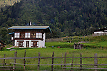A typical Bhutanese house on a firmland on the way to Trongsha.  Arindam Mukherjee..