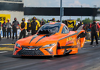 Jul 18, 2020; Clermont, Indiana, USA; NHRA funny car driver Mike McIntire during qualifying for the Summernationals at Lucas Oil Raceway. Mandatory Credit: Mark J. Rebilas-USA TODAY Sports
