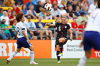 14 MAY 2011: USA Women's National Team midfielder Lindsay Tarpley (5) passes the bal during the International Friendly soccer match between Japan WNT vs USA WNT at Crew Stadium in Columbus, Ohio.