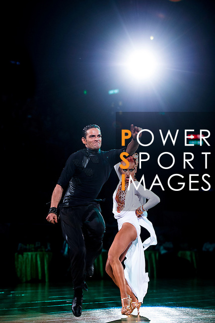 Aniello Langella and Khrystyna Moshenska of Italy during the WDSF GrandSlam Latin on the Day 1 of the WDSF GrandSlam Hong Kong 2014 on May 31, 2014 at the Queen Elizabeth Stadium Arena in Hong Kong, China. Photo by AItor Alcalde / Power Sport Images