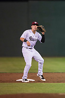 Idaho Falls Chukars second baseman Nathan Eaton (8) waits to receive a throw from the catcher during a Pioneer League game against the Great Falls Voyagers at Melaleuca Field on August 18, 2018 in Idaho Falls, Idaho. The Idaho Falls Chukars defeated the Great Falls Voyagers by a score of 6-5. (Zachary Lucy/Four Seam Images)