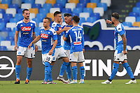 Jose Callejon of SSC Napoli celebrates with team mates after scoring the goal of 2-1 during the Serie A football match between SSC  Napoli and SPAL at stadio San Paolo in Naples ( Italy ), June 28th, 2020. Play resumes behind closed doors following the outbreak of the coronavirus disease. <br /> Photo Carmelo Imbesi / Insidefoto