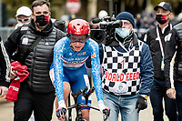 GC winner Tadej Pogačar (SVN/UAE-Emirates) after finishing his iTT and knowing he secured the overall win<br /> <br /> Final stage 7 (ITT) from San Benedetto del Tronto to San Benedetto del Tronto (10.1km)<br /> <br /> 56th Tirreno-Adriatico 2021 (2.UWT) <br /> <br /> ©kramon