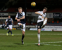 16th March 2021; Dens Park, Dundee, Scotland; Scottish Championship Football, Dundee FC versus Ayr United; Cammy Smith of Ayr United clears from Max Anderson of Dundee