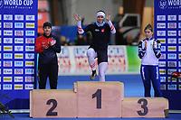 SPEEDSKATING: ERFURT: 20-01-2018, ISU World Cup, Podium 500m Ladies Division A, Karolina Erbanova (CZE), Vanessa Herzog (AUT), Olga Fatkuling (RUS), photo: Martin de Jong