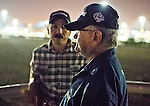 HALLANDALE BEACH, FL - JAN 27: Groom Raul Rodriguez and Trainer Art Sherman watch California Chrome's final workout for the Pegasus World Cup at Gulfstream Park Race Course on January 27, 2017 in Hallandale Beach, Florida. (Photo by Scott Serio/Eclipse Sportswire/Getty Images)