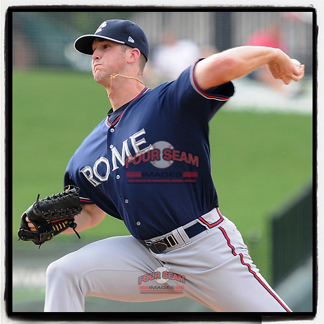 #OTD On This Day, July 6, 2012, pitcher Alex Wood of the Rome Braves struck out four in three innings and took the loss in a game against the Greenville Drive at Fluor Field at the West End in Greenville, South Carolina. Wood went on to pitch for the Braves, Dodgers, Reds and is now back with the Dodgers on their 60-man player pool for 2020. (Tom Priddy/Four Seam Images) #MiLB #OnThisDay #MissingBaseball #nobaseball #stayathome #minorleagues #minorleaguebaseball #Baseball #SallyLeague #AloneTogether