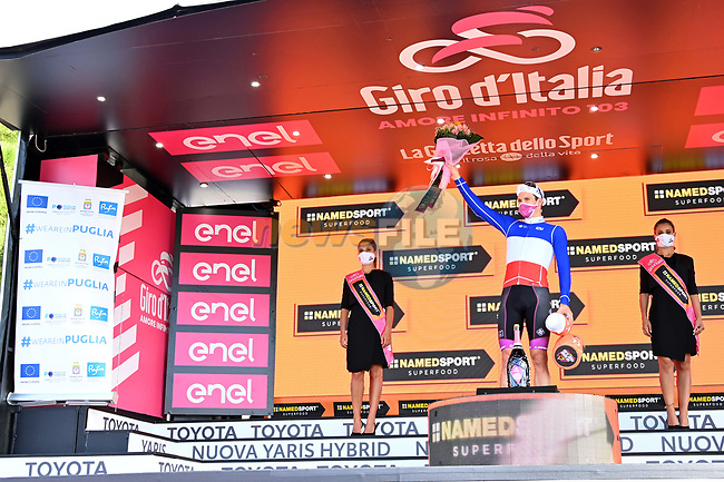 French Champion Arnaud Demare (FRA) Groupama-FDJ wins Stage 7 of the 103rd edition of the Giro d'Italia 2020 running 143km from Matera to Brindisi, Sicily, Italy. 9th October 2020.  <br /> Picture: LaPresse/Gian Mattia D'Alberto | Cyclefile<br /> <br /> All photos usage must carry mandatory copyright credit (© Cyclefile | LaPresse/Gian Mattia D'Alberto)