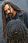 This was a match made in heaven. When I saw this professional handler and his fantastic dreads, I knew what I had to do. I pulled him from one area of the showgrounds and the puli from another. Washington, USA.