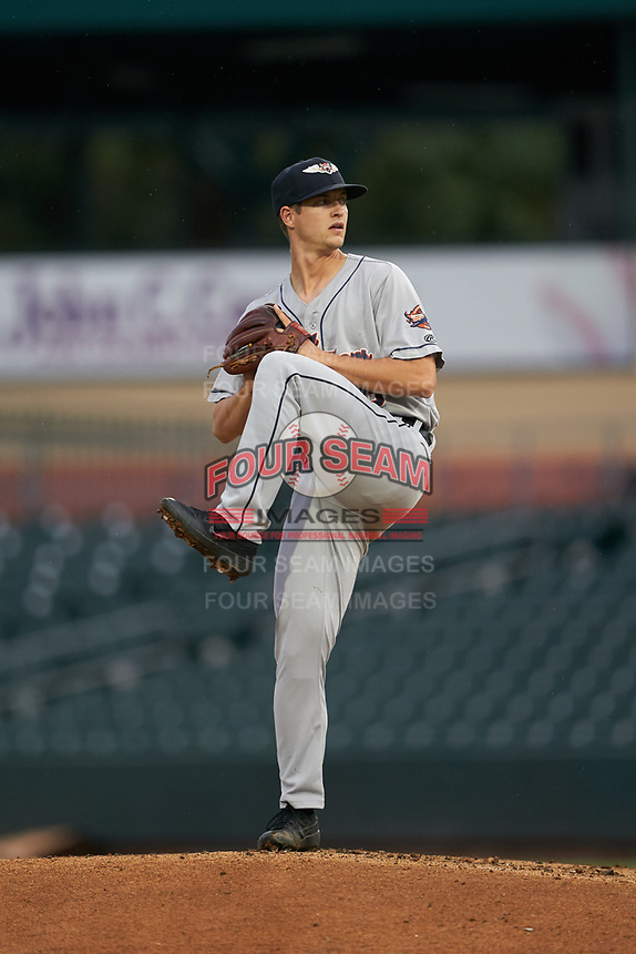Lakeland Flying Tigers pitcher Garrett Hill (58) during a Florida State League game against the Jupiter Hammerheads on August 12, 2019 at Roger Dean Chevrolet Stadium in Jupiter, Florida.  Jupiter defeated Lakeland 9-3.  (Mike Janes/Four Seam Images)