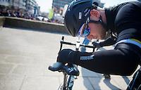 3 Days of De Panne.stage 1: Middelkerke - Zottegem..Mark Cavendish (GBR) always checks his bike meticulously before the start