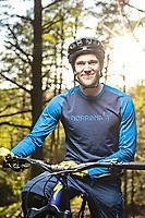 Portrait of Jon Bokrantz, mountain biker in Änggårdsbergen Nature Reserve, Gothenburg, Sweden