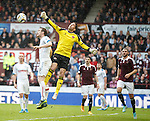 Hearts keeper Neil Alexander punches clear from Jon Daly