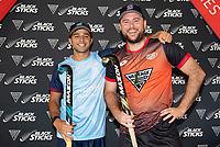 George Muir and Leon Hayward. Hockey Premier League Official Launch, Auckland Grammar Hockey Turf, Auckland, New Zealand. Photo: Simon Watts/www.bwmedia.co.nz/HockeyNZ