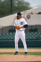 Detroit Tigers pitcher Billy Lescher (62) during a Minor League Spring Training game against the Philadelphia Phillies on April 17, 2021 at Joker Marchant Stadium in Lakeland, Florida.  (Mike Janes/Four Seam Images)