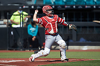 Miami Redhawks catcher Nate Stolze (4) on defense against the Connecticut Huskies at Springs Brooks Stadium on March 5, 2021 in Conway, South Carolina. The Huskies defeated the Redhawks 5-0. (Brian Westerholt/Four Seam Images)