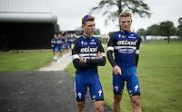 teammates/friends Tony Martin (DEU/Etixx-Quickstep) & Marcel Kittel (DEU/Etixx-Quickstep) ahead of the Grand Départ - Official Teams Presentation in the historic village of Sainte-Mère-Eglise<br /> <br /> 103rd Tour de France 2016