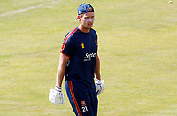 Tom Westley of Essex heads back to the dressing room after warming up prior to Essex CCC vs Kent CCC, Bob Willis Trophy Cricket at The Cloudfm County Ground on 1st August 2020
