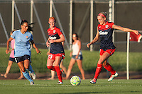 Piscataway, NJ - Saturday July 23, 2016: Taylor Lytle, Tori Huster, Megan Oyster during a regular season National Women's Soccer League (NWSL) match between Sky Blue FC and the Washington Spirit at Yurcak Field.