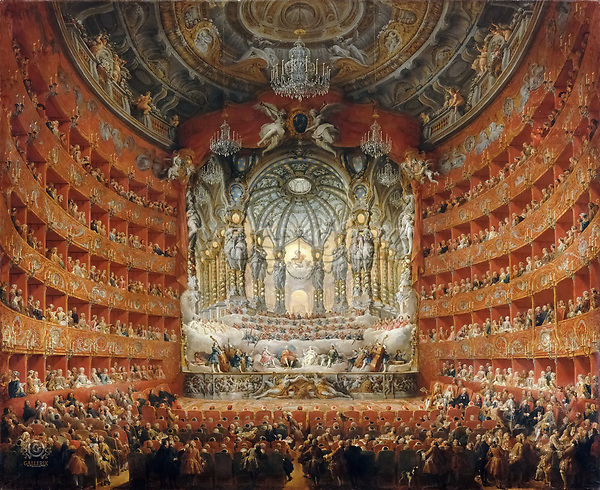 Giovanni Paolo Panini (1691-1765) - A musical celebration given the Cardinal Rochefoucauld at the Teatro Argentina in Rome, July 15, 1747, on the occasion of the wedding of the Dauphin Louis XV and Marie-Josephe of Saxony. Louvre. Paris. France.