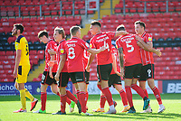 Lincoln City's Adam Jackson celebrates scoring his side's second goal with team-mates<br /> <br /> Photographer Andrew Vaughan/CameraSport<br /> <br /> The EFL Sky Bet League One - Saturday 12th September  2020 - Lincoln City v Oxford United - LNER Stadium - Lincoln<br /> <br /> World Copyright © 2020 CameraSport. All rights reserved. 43 Linden Ave. Countesthorpe. Leicester. England. LE8 5PG - Tel: +44 (0) 116 277 4147 - admin@camerasport.com - www.camerasport.com - Lincoln City v Oxford United
