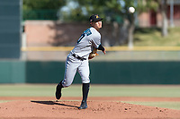 Salt River Rafters starting pitcher Jordan Yamamoto (20), of the Miami Marlins organization, delivers a pitch during the Arizona Fall League Championship Game against the Peoria Javelinas at Scottsdale Stadium on November 17, 2018 in Scottsdale, Arizona. (Zachary Lucy/Four Seam Images)