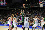 Real Madrid´s Kelvin Rivers and Unicaja´s Will Thomas during 2014-15 Liga Endesa match between Real Madrid and Unicaja at Palacio de los Deportes stadium in Madrid, Spain. April 30, 2015. (ALTERPHOTOS/Luis Fernandez)