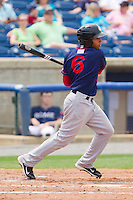 Adrian Sanchez #6 of the Hagerstown Suns follows through on his swing against the Rome Braves at State Mutual Stadium on May 1, 2011 in Rome, Georgia.   Photo by Brian Westerholt / Four Seam Images