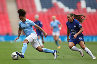 29th August 2020; Wembley Stadium, London, England; Community Shield Womens Final, Chelsea versus Manchester City; Demi Stokes of Manchester City Women takes on Fran Kirby of Chelsea Women