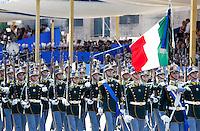 Un momento della parata militare per la festa della Repubblica, a Roma, 2 giugno 2014.<br /> Military corps march during the parade on the occasion of the Republic Day in Rome, 2 June 2014.<br /> UPDATE IMAGES PRESS/Riccardo De Luca