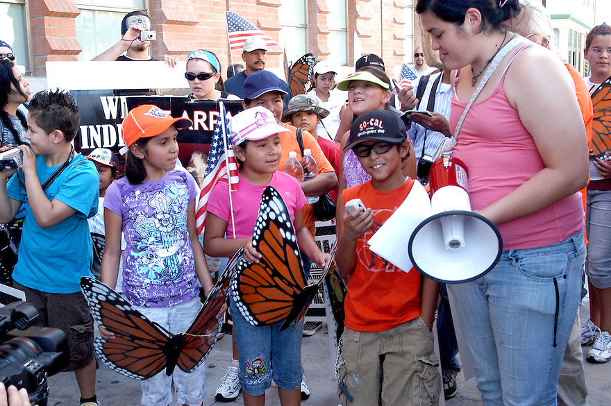 AJ Alexander -  Katharine Figueroa at the Children March in protest against Sheriff Joe Arpaio arressting Illeagal undocumented workers in this  county. From the county jail on 4th ave to Wells Fargo Bank on Friday August 7, 2009.  Photo by AJ Alexander