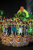 Imperatriz Leopolinense Samba School, Carnival, Rio de Janeiro, Brazil, 26th February 2017. The 'Beautiful Monster' - Belo Monstro - float. The Kayapo Indians are at the front of the float; from left: Beptuk Metuktire, Kamikiá Kisedje, Raoni Metuktire, Megaron Txucarrhamãe, Bemoro Metuktire and Kreton Panará.