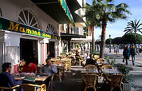Southern Coast Costa del Sol. The restaurant called Paseo Maritimo on the beach in city of Marbella, Spain