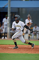 GCL Pirates Edgar Barrios (15) bats during a Gulf Coast League game against the GCL Rays on August 7, 2019 at Charlotte Sports Park in Port Charlotte, Florida.  GCL Rays defeated the GCL Pirates 5-3 in the second game of a doubleheader.  (Mike Janes/Four Seam Images)