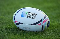 Close up of the match ball during Match 20 of the Rugby World Cup 2015 between Tonga and Namibia - 29/09/2015 - Sandy Park, Exeter<br /> Mandatory Credit: Rob Munro/Stewart Communications