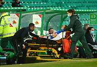 21st April 2021; Celtic Park, Glasgow, Scotland; Scottish Womens Premier League, Celtic versus Rangers; Kirsty Howat of Rangers Women is taken up the tunnel by paramedic staff after her injury