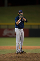 AZL Brewers relief pitcher Michael Mediavilla (25) looks to his catcher for the sign during an Arizona League game against the AZL Cubs 1 at Sloan Park on June 29, 2018 in Mesa, Arizona. The AZL Cubs 1 defeated the AZL Brewers 7-1. (Zachary Lucy/Four Seam Images)