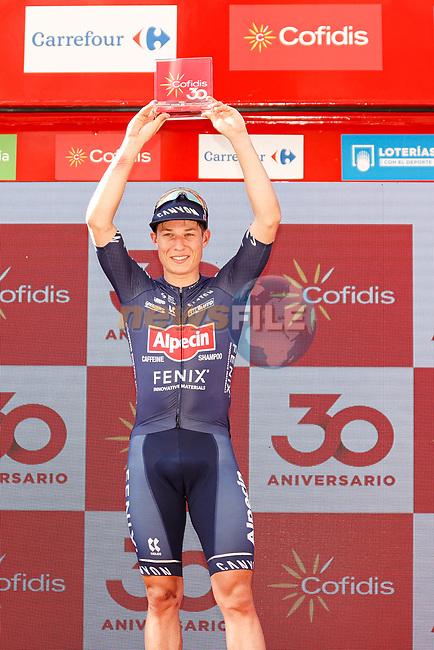 Jasper Philipsen (BEL) Alpecin-Fenix wins Stage 2 of La Vuelta d'Espana 2021, running 166.7km from Caleruega. VIII Centenario de Santo Domingo de Guzmán to Burgos. Gamonal, Spain. 15th August 2021.    <br /> Picture: Luis Angel Gomez/Photogomezsport | Cyclefile<br /> <br /> All photos usage must carry mandatory copyright credit (© Cyclefile | Luis Angel Gomez/Photogomezsport)