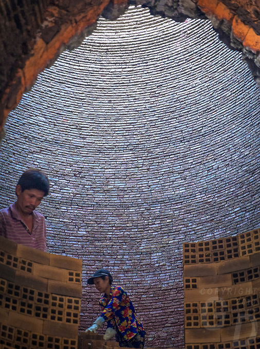 Looking inside the Kiln, Brick production and Kiln of Vinh Long in the Mekong Delta, Vietnam.