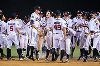 The Danville Braves celebrate after their come from behind win against the Princeton Rays at American Legion Post 325 Field on June 25, 2017 in Danville, Virginia.  The Braves walked-off the Rays 7-6 in 11 innings.  (Brian Westerholt/Four Seam Images)
